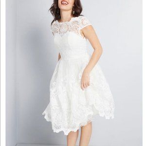 NWT Chi Chi London White Lace and Tulle Dress
